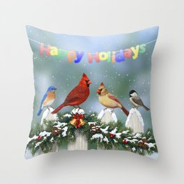 Christmas Birds and Garland Fence Throw Pillow