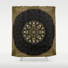 Boho chic Gold Lace Black  Flower Mandala Shower Curtain