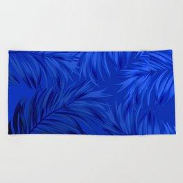 Palm Tree Fronds Brilliant Blue on Blue Hawaii Tropical Décor Beach Towel