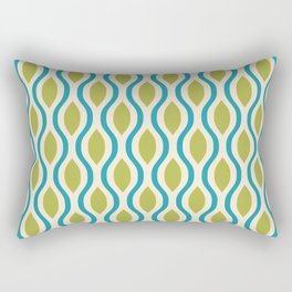 Retro Ogee Pattern 441 Blue Beige and Olive Rectangular Pillow