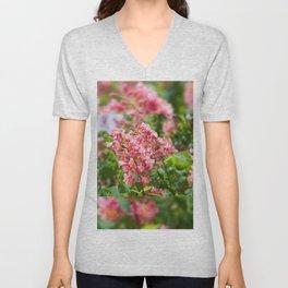 Aesculus red blossom cluster Unisex V-Neck