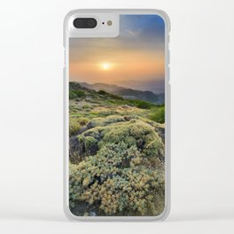 Summer Sunset At The Mountains Clear iPhone Case
