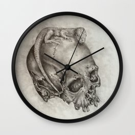 Human Skull with Lizard Wall Clock