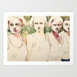 Girls Waiting in Line Art Print