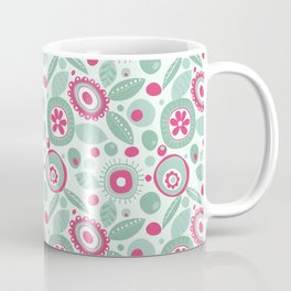 Abstract Flower Pattern Hot Pink Mint Green Floral Circles Coffee Mug