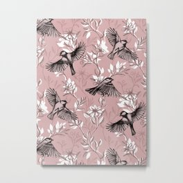 Flowers and Flight in Monochrome Rose Pink Metal Print