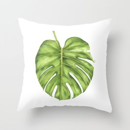 Cheese Plant Leaf Throw Pillow