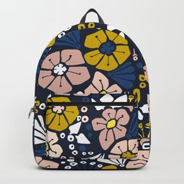 Blue wellness garden - florals matching to design for a happy life Backpack