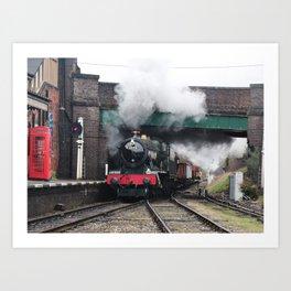 Vintage Steam Railway Train at the Station Art Print