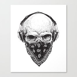 Skull in Headphones Canvas Print