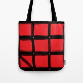 DOTTED GRID WITH BRUSH STROKES RED Tote Bag