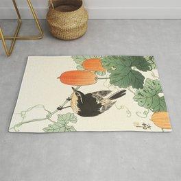 Ohara Koson, Bird Sitting On The Tree - Japanese Vintage Woodblock Print Rug