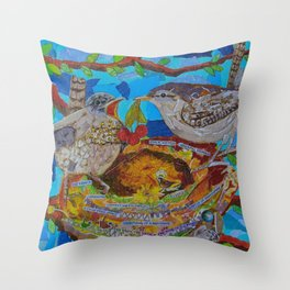 Two Birds In Colorful Nest With Quotes About Wrens Throw Pillow