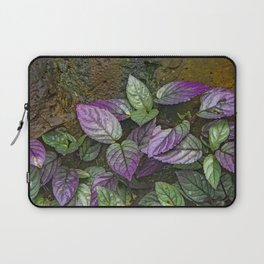 Purple and Green Leaves on Multi-Colored Bark Laptop Sleeve