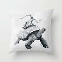 tortoise Throw Pillows featuring Tortoise Tree by Adam Dunt