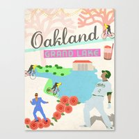 oakland Canvas Prints featuring Oakland by June Chang Studio