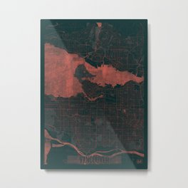 Vancouver Map Red Metal Print
