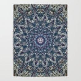 Delicate Detailed Blue Grey Mandala Poster