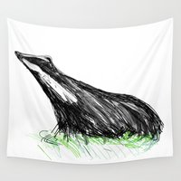 badger Wall Tapestries featuring Badger by James Peart
