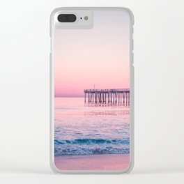 Pink Beach Sunset Clear iPhone Case