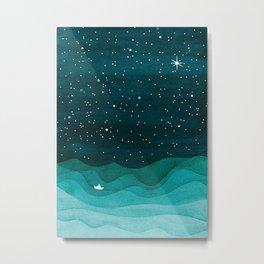 Starry Ocean, teal sailboat watercolor sea waves night Metal Print