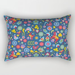 Swedish Folk Art Garden Rectangular Pillow