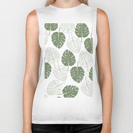 Tropical forest green white monster leaves pattern Biker Tank
