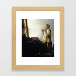 """Johannes Vermeer """"Woman with a Pearl Necklace"""" Framed Art Print"""