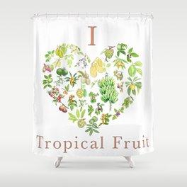 Tropical Fruit Love Heart Shower Curtain