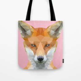 Low poly fox on pink background Tote Bag