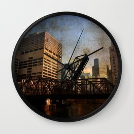 Chicago Skyline Chicago River Drawbridge Wall Clock
