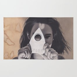 Realism Drawing of Beautiful Woman with Ouija Planchette Piece Rug