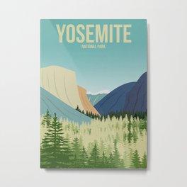 Yosemite National Park - Travel Poster -  Minimalist Art Print Metal Print