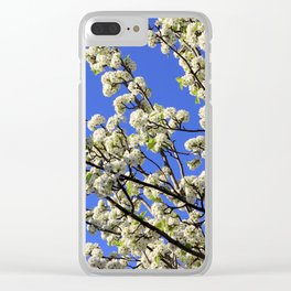 Blue Sky Pear Blossom Clear iPhone Case