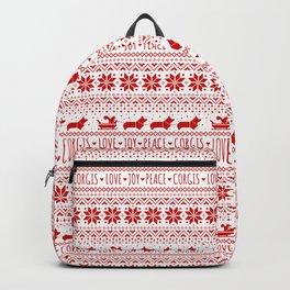 Love, Joy, Peace, Corgis   Humorous Dogs Christmas Pattern Backpack