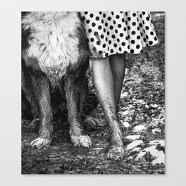 Muddy Paws BW Canvas Print