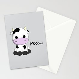 Cute baby cow cartoon Stationery Cards