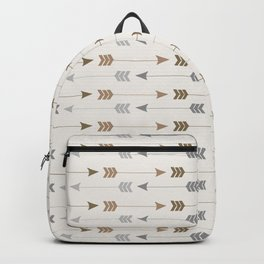 Tribal Arrows Pattern - Cream, Brown and Grey Backpack