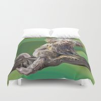 psychadelic Duvet Covers featuring Melanie's Marmoset by Distortion Art
