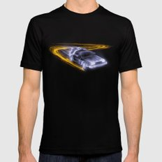 Neon Back to the Future Mens Fitted Tee Black MEDIUM