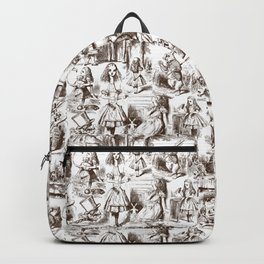 Alice in Wonderland | Toile de Jouy | Brown and White Backpack