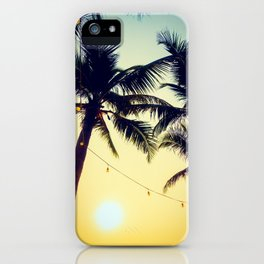 Vintage Palm trees with patio lanterns iPhone Case