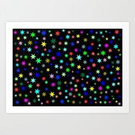 Stars on black ground Art Print