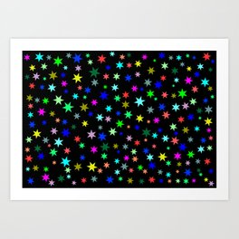 Stars on black ground Art Print