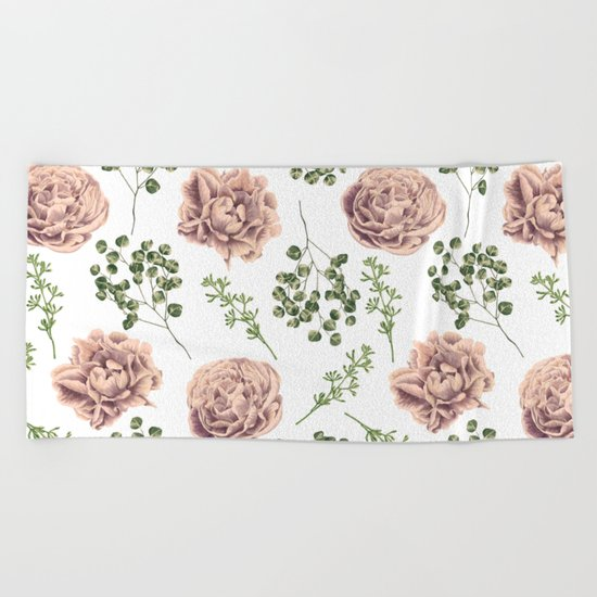 Roses Pattern on White Beach Towel