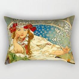 """Alphonse Mucha  """"Princess Hyacinth"""" Rectangular Pillow"""