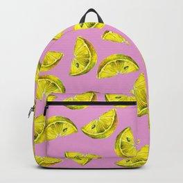 Lemon Slices Pattern Pink Backpack