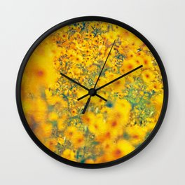 Painterly Yellow Sunflower Botanical with Abstract Elements Wall Clock