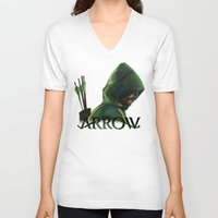 green arrow V-neck T-shirts featuring Green Arrow by xDontStopMeNow