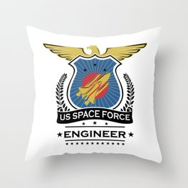US Space Force Crew Member Art for Spaceship Engineer Light Throw Pillow